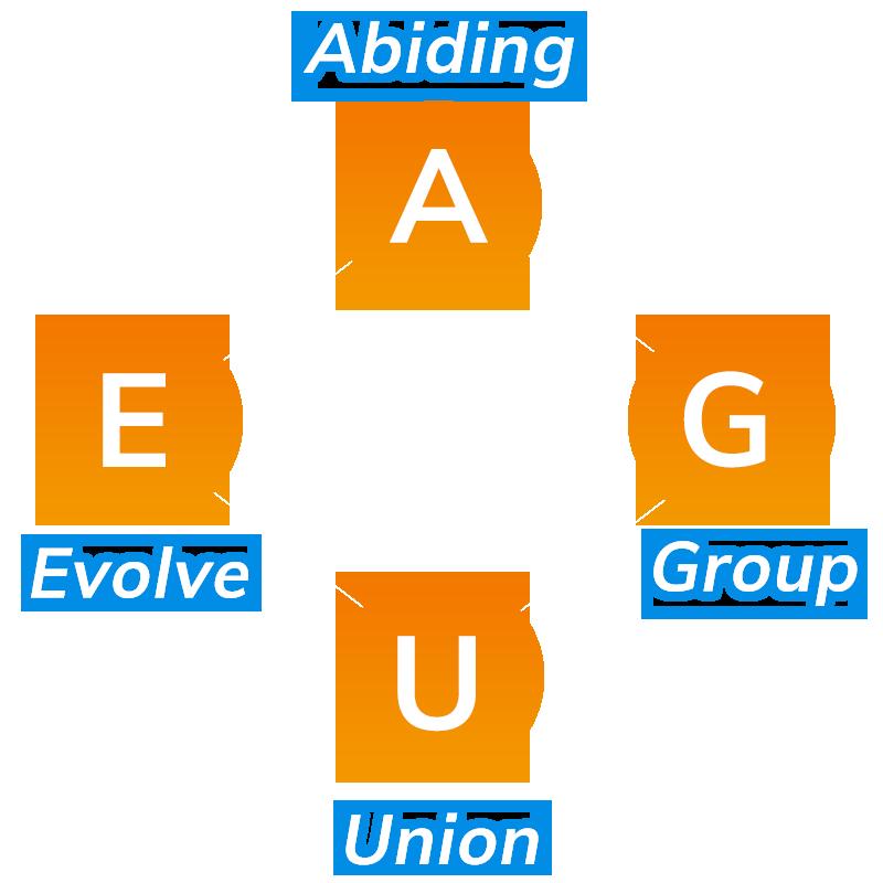 Abiding(永久的に)、Evolve(進化する)、Union(団結した)、Group(仲間たち)